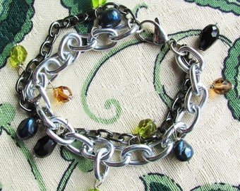 Chain, green glass, and pearl bracelet