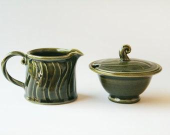 Olive green sugar bowl and milk jug set