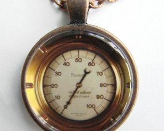 Vintage French MANOMETER Necklace -- Under Pressure, Pressure gauge for gases and vapours, Technology Art, Friendship token