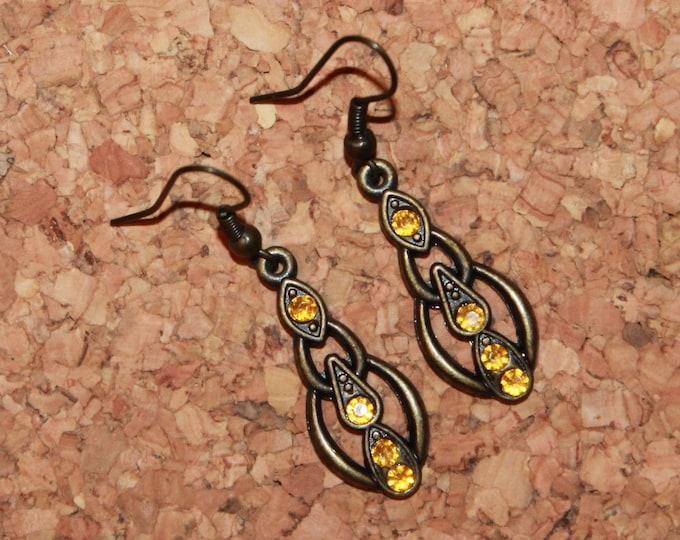 Golden Gemstone Earrings, Dangle Earrings, Hook Earrings, Bell Art Designs 23