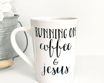 Religious gifts etsy running on coffee and jesus 14oz coffee mug coffee cup gifts for her negle Image collections
