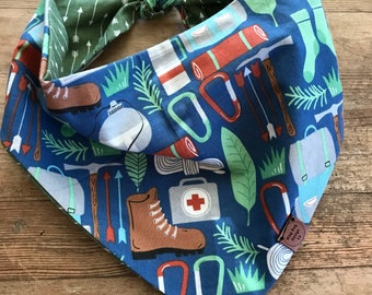 Adventure Together Reversible Dog Bandana , snap/tie on dog bandana
