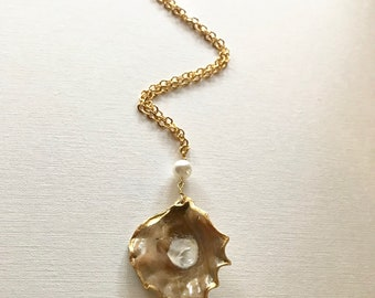 Unique Cream Oyster Shell Necklace, Gold Leafed