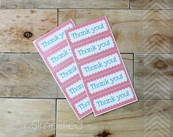 Thank You Stickers | Product Packaging | Pink and Blue Scalloped Rectangle | Thank You Favors | Etsy Packaging | Set of 10