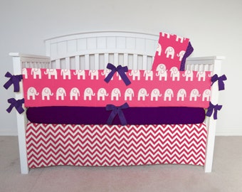 FREE SHIPPING - 4 Piece Crib Set - Elephant and chevron crib set, pink elephant, pink chevron, pink zig zag, elephant crib bedding