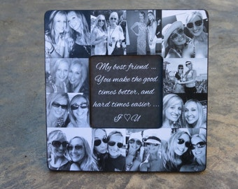 "Best Friends Photo Collage Frame, Personalized Sister Gift, Maid of Honor Picture Frame, Custom Bridesmaid Frame, Graduation Gift, 8"" x 8"""