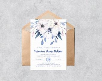 Printable Graduation Invitation   Violet Floral   Instant Download  Customizable And Printable Graduation Invite Template