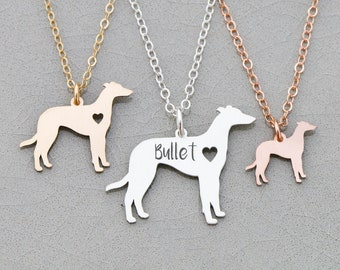 Greyhound Necklace Dog Greyhound • Dog Lover Present Personalized Pet Name Engraved Gift • Dog Custom Dog Breed Silver Dog Cutout Pet Charm