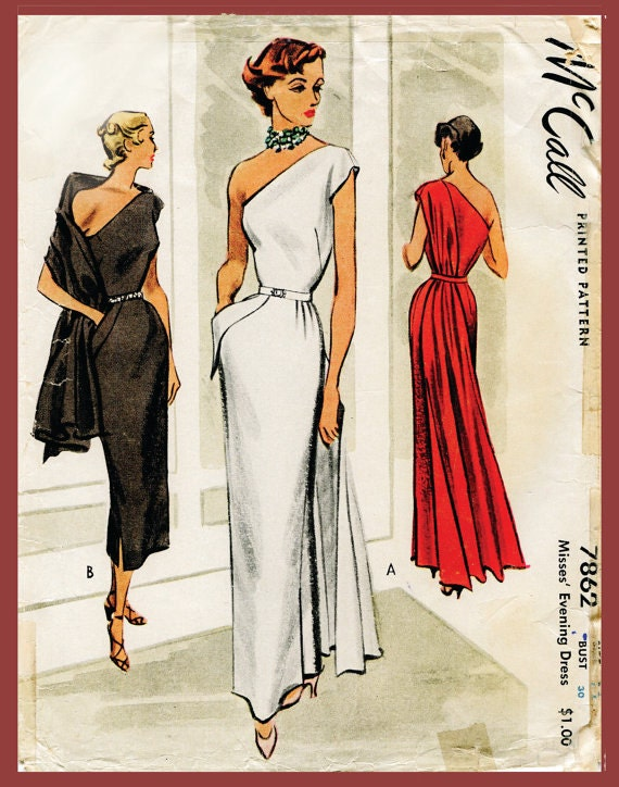 1940s 1950s Vintage Kleid Schnittmuster Abend Cocktail Kleid