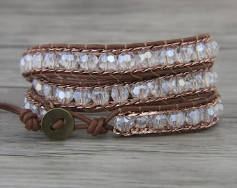 Triple wrap bracelet White jade bead bracelet Boho wrap bracelet chain bead bracelet Leather wrap bracelet braid bead bracelet SL-0470