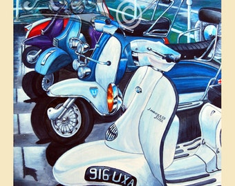 Lambrettas and vespa scooters art print, scooters on the pier,lambretta art, vespa art, scooter painting by Marshy's Art. scooter gift.