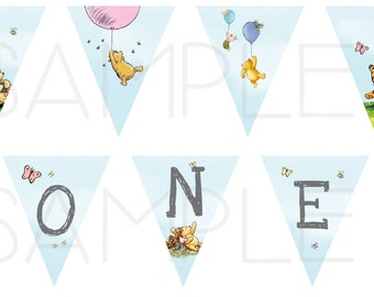 Classic Pooh Banner - 7 flags - Birthday Party, Baby Shower - Winnie-the-Pooh Diamond Garland - Download only
