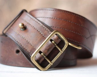 Gorgeous French Officer's Leather Belt, Vintage Belt, Tan Leather Belt