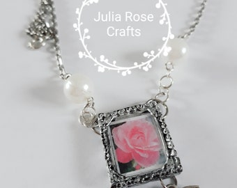 Rose and Bird frame necklace