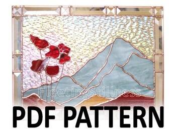PDF Pattern for Stained Glass - Mountain Poppies FleetingStillness Original Design