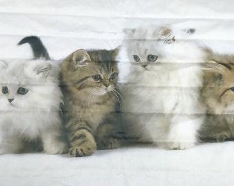 """Stoff weiß große Katzen Kätzchen tierische Gewebe EXTRA große 59 """"x 80"""" 149x204cm moderne Baumwolle Stoff skandinavisches Design skandinavische Textil"""