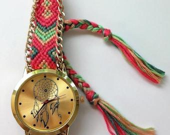 Watch Boho-Dreamcatcher-Boho watches-woven strap Watch-Summer watches-Hippie accessories-Golden Boho Watches-