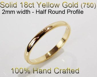 18ct 750 Solid Yellow Gold Ring Wedding Engagement Friendship Half Round Band 2mm