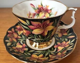 "Royal Albert ""Prairie Lily"" Teacup and Saucer, Black and Orange Lily Tea Cup and Saucer, Provincial Flowers Series, Bone China"
