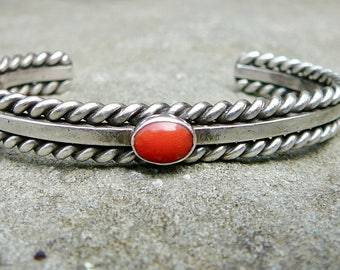Native American Coral Cuff,Navajo Coral Bracelet,Native American Signed Jewelry,Sterling Silver and Coral Cuff,Coral Silver Cuff Bracelet