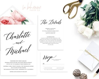 Printable Wedding Invitation Suite / Calligraphy / Wedding Invite Set - The Charlotte Suite