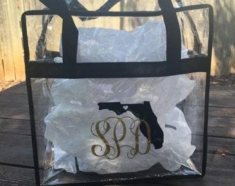 Clear stadium bag- Fsu tote- personalized purse- Monogram clear tote- custom bag - sports bag - nfl clear tote