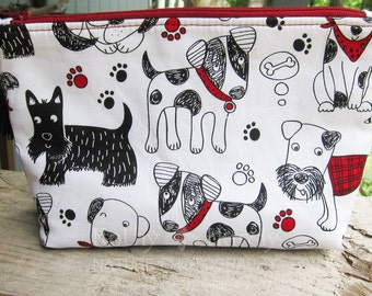 Zippered Pouch | Makeup Bag | Lined Zipper Bag | Veterinarian Gift | Cute Dog Fabric Makeup Bag | Small Gift Under 20 | Camera Accessory Bag