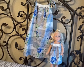 Handmade Me and My Dolly pillowcase dresses girls size 8  doll 18""
