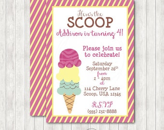 Ice Cream Party Printable Invitation with Optional Party Package Add-Ons