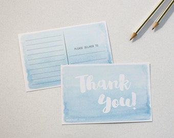 Pack de cartes postales-8 Merci bleu dégradé