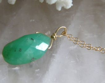 Chrysoprase Necklace, Green Necklace, Gift for Her, Jewelry, Genuine Gemstone, Gift for Her, Green Necklace, Gold Fill, KarenWolfeCreations