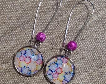 Earrings dangling cabochons - dandelion - flower - Pearl