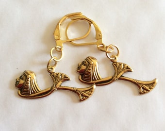 Egyptian Goddess Queen of the Nile and lotus flower handmade brass earrings for pierced ears nickel free