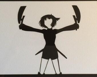 World Trigger // Konami Kirie // handcut paper art // anime // manga // framed