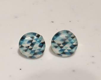 10MM Blue Geometric Stud Earrings
