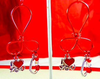 VALENTINE EARRINGS, valentine jewelry, heart earrings, heart jewelry,heart charms, red crystals, clear crystals, I (heart) You charm - 2099+