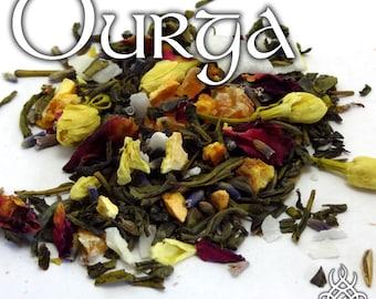 Durga Devotional Tea - loose leaf green tea, orange, coconut, rose, lavender, jasmine, papaya, mango, Hindu pagan, Shakti, Hindu Gods, Devi