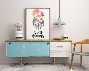 Nursery wall art, Sweet dreams, Dream catcher print, Nursery sign, Room decor, Dreamcatcher print, Nursery decor, Baby shower gift