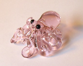 Small Glass Octopus pendant Transparent Pink