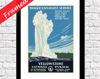 Yellowstone Poster Yellowstone Framed Print National Park Poster Framed National Parks Print National Parks Wall Art Yellowstone Wall Art