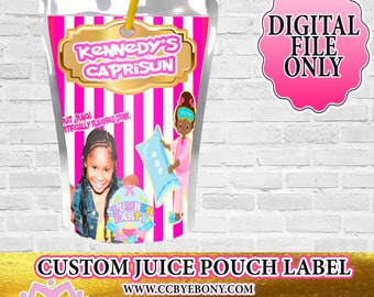 Pink and Gold Slumber Party Custom Juice Pouch Label