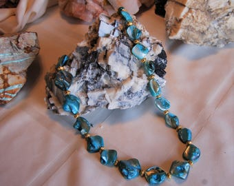 Aqua Sea Shell Necklace with Gold Plated Spacers