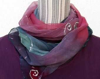 """Stole chiffon hand painted, unique, elegant, air, hand painted silk scarf """"raw"""" (8)"""