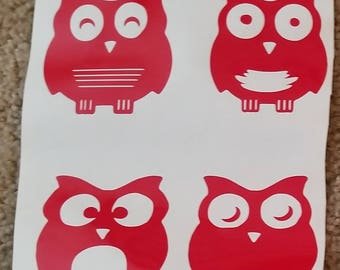 Owl decal set of 4