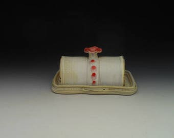 Butter Dish with lid - Red, Yellow and White