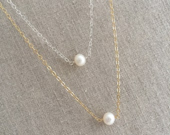 Gold Pearl Necklace, Simple Gold Pearl Necklace, Sterling Silver Pearl Necklace, Floating Pearl, One Pearl, Dainty Pearl Necklace, SGC1