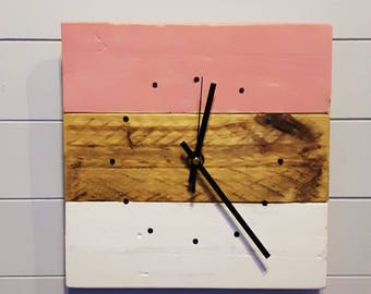 Reclaimed Wood, Pink and Cream Wall Clock, Wall Clock, Wall Clock, Pallet Wood Clock, Square Clock, Rustic Clock, Shabby Chic Clock