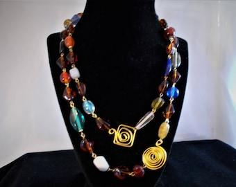 Multi color single 42 inch necklace