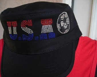 USA Soccer Crystal Embellished Cap