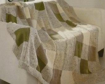 Knitting Pattern Blanket K3457 Square design Blanket/Throw/Afghan Knitting Pattern Aran (Fisherman) King Cole